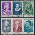 FRANCE - 1955 Famous Frenchmen set of 6, used – Michel # 1053-1058