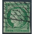 FRANCE - 1850 15c deep green Cérès, imperforate, used – Michel # 2b