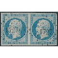 FRANCE - 1853 20c milky blue Emperor Napoléon (type I), imperf., pair, used – Michel # 13Id