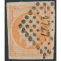 FRANCE - 1861 40c orange on yellowish paper Emperor Napoléon (type I), imperf., used – Michel # 15b
