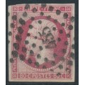 FRANCE - 1860 80c carmine-rose Emperor Napoléon, imperforate, used – Michel # 16c