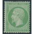 FRANCE - 1862 5c green on greenish paper Emperor Napoléon, perf. 14:13½, MNG – Michel # 19a