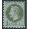 FRANCE - 1870 1c olive-green on blue Emperor Napoléon with laurel wreath, perf. 14:13½, MNG – Michel # 24
