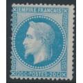 FRANCE - 1867 20c blue Emperor Napoléon with laurel wreath, perf. 14:13½, MNG – Michel # 28a