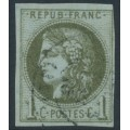 FRANCE - 1870 1c olive on bluish paper Cérès (Bordeaux printing), imperforate, used – Michel # 36