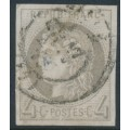 FRANCE - 1870 4c grey Cérès (Bordeaux printing), imperforate, used – Michel # 38a
