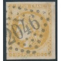 FRANCE - 1870 10c yellow-brown Cérès (Bordeaux printing), imperforate, used – Michel # 40a