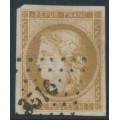 FRANCE - 1870 10c orange-brown Cérès (Bordeaux printing), imperforate, used – Michel # 40b