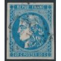 FRANCE - 1870 20c blue Cérès, type II (Bordeaux printing), imperforate, used – Michel # 41II