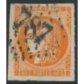 FRANCE - 1871 40c red-orange Cérès (Bordeaux printing), imperforate, used – Michel # 43b