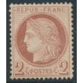FRANCE - 1872 2c red-brown Cérès, perf. 14:13½, MNG – Michel # 46