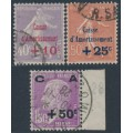 FRANCE - 1928 Caisse d'Amortissement overprints set of 3, used – Michel # 232-234