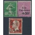 FRANCE - 1929 Caisse d'Amortissement overprints set of 3, used – Michel # 244-246