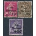 FRANCE - 1930 Caisse d'Amortissement overprints set of 3, used – Michel # 252-254