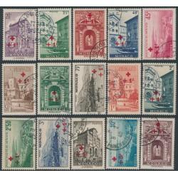 MONACO - 1940 Red Cross overprints set of 15, used – Michel # 205-219