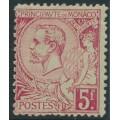 MONACO - 1891 5Fr deep rose-red on greenish Prince Albert I, MH – Michel # 21b