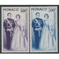MONACO - 1959 300Fr violet & 500Fr blue Royal Couple set of 2, MNH – Michel # 603-604
