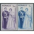 MONACO - 1960 3.00Fr violet & 5.00Fr blue Royal Couple set of 2, MNH – Michel # 655-656
