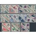 MONACO - 1956 Postage o/p on triangular Postage Dues set of 11 pairs, MH – Michel # 538-559