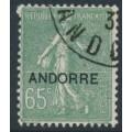 ANDORRA - 1931 65c grey-green Semeuse overprinted ANDORRE, used – Michel # 14