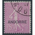 ANDORRA - 1931 75c red-purple Semeuse overprinted ANDORRE, used – Michel # 15
