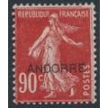 ANDORRA - 1931 90c red Semeuse overprinted ANDORRE, MH – Michel # 16