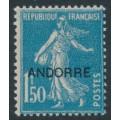 ANDORRA - 1931 1.50Fr blue Semeuse overprinted ANDORRE, MH – Michel # 18