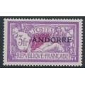 ANDORRA - 1931 3Fr violet/carmine Merson overprinted ANDORRE, MH – Michel # 20