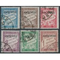 ANDORRA - 1931 5c to 1Fr French Postage Dues overprinted ANDORRE, used – Michel # P1-P6