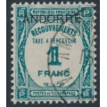 ANDORRA - 1932 1Fr blue-green French Postage Due o/p ANDORRE, used – Michel # P14