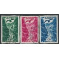 ANDORRA - 1955 100Fr to 500Fr Airmail set of 3, used – Michel # 158-160