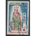 ANDORRA - 1964 0.25Fr+0.10Fr Red Cross stamp, used – Michel # 190