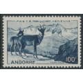 ANDORRA - 1944 100Fr blue Pyrenean Chamois airmail, MH – Michel # 141
