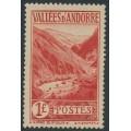 ANDORRA - 1938 1Fr red Gorge de St. Julia, MH – Michel # 69