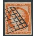 FRANCE - 1850 40c red-orange Cérès, imperforate, used – Michel # 5a