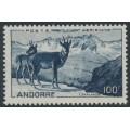 ANDORRA - 1944 100Fr blue Pyrenean Chamois airmail, MNH – Michel # 141