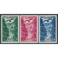 ANDORRA - 1955 100Fr to 500Fr Airmail set of 3, MNH – Michel # 158-160