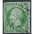 FRANCE - 1860 5c green on greenish paper Emperor Napoléon, imperforate, used – Michel # 11a
