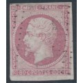 FRANCE - 1860 80c pale rose Emperor Napoléon, imperforate, used – Michel # 16c