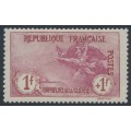 FRANCE - 1917 1Fr+1Fr carmine/rose War Orphans Charity, used – Michel # 134