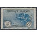 FRANCE - 1917 5Fr+5Fr blue/black War Orphans Charity, used – Michel # 135