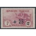 FRANCE - 1922 1Fr+25c carmine/rose War Orphans Charity, MH – Michel # 150