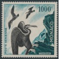 MONACO - 1957 1000Fr green/black Bird Airmail, perf. 13:13, MNH – Michel # 505B