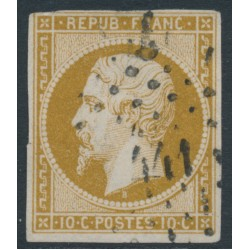 FRANCE - 1852 10c brown-yellow President Napoléon, imperforate, used – Michel # 8b
