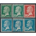 FRANCE - 1925 20c to 1.50Fr Louis Pasteur set of 6, MH – Michel # 192-197