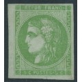FRANCE - 1870 5c yellow-green Cérès (Bordeaux printing), imperforate, MNG – Michel # 39b