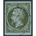 FRANCE - 1860 1c olive-green on blue Napoléon, imperforate, used – Michel # 10a