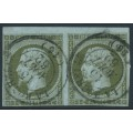 FRANCE - 1860 1c olive-green on blue Napoléon, imperforate pair, used – Michel # 10a