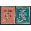 FRANCE - 1930 Congrès du B.I.T. overprint set of 2, MNH – Michel # 249-250