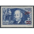 FRANCE - 1940 20Fr on 50Fr deep blue Clément Ader (thick paper), MH – Michel # 495b